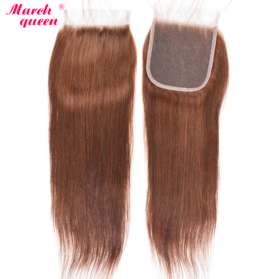 marchqueen 4X4 Malaysian Closure Straight Human Hair Free Part Lace Closure 10 20 Free Shipping