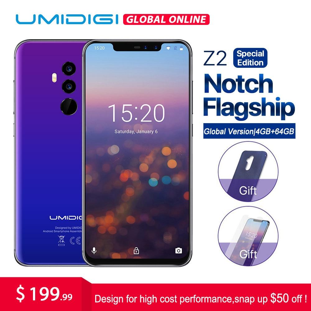UMIDIGI Z2 Édition Spéciale Mondial version 6.2 FHD + Plein Écran Mobile téléphone Helio P23 Octa Core 4 gb + 64 gb Android 8.1 4g Smartphone