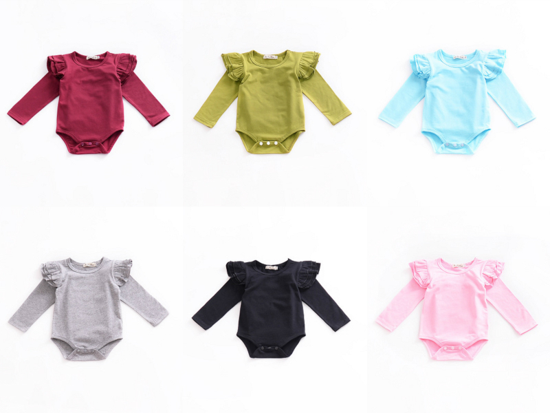 HTB1YRFrdRfM8KJjSZFhq6ARyFXaX Infant Baby Girls Solid Ruffles Cotton Romper Long Sleeve Outfits Jumpsuit Clothes