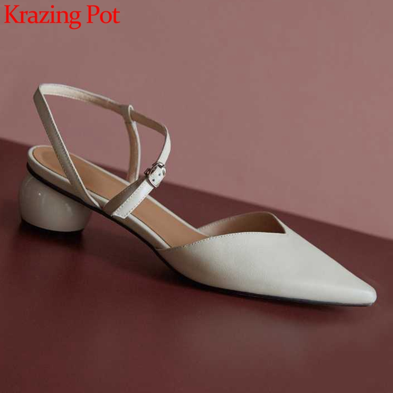 2019 Krazing Pot shoes women fashion med heels genuine leather solid color Korean buckle straps pointed
