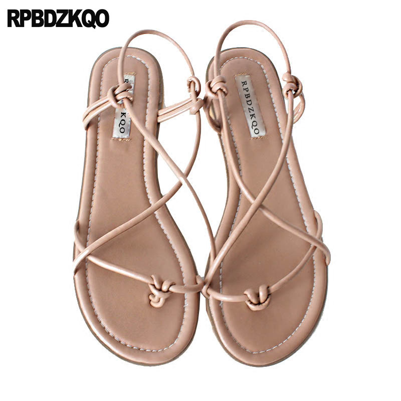 7a1335c921a242 Strap Strappy Slingback Thong Designer Ladies Soft Open Toe Cheap Shoes  Gladiator Brown Women Sandals Flat