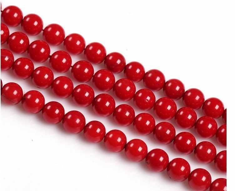 Màu Sắc đỏ Kính trang sức đá tự nhiên phát hiện do khoang cach bang rời hạt thủy tinh tròn chun Vòng Cổ Tua Rua Bông Tai Vòng đeo tay hạt charm
