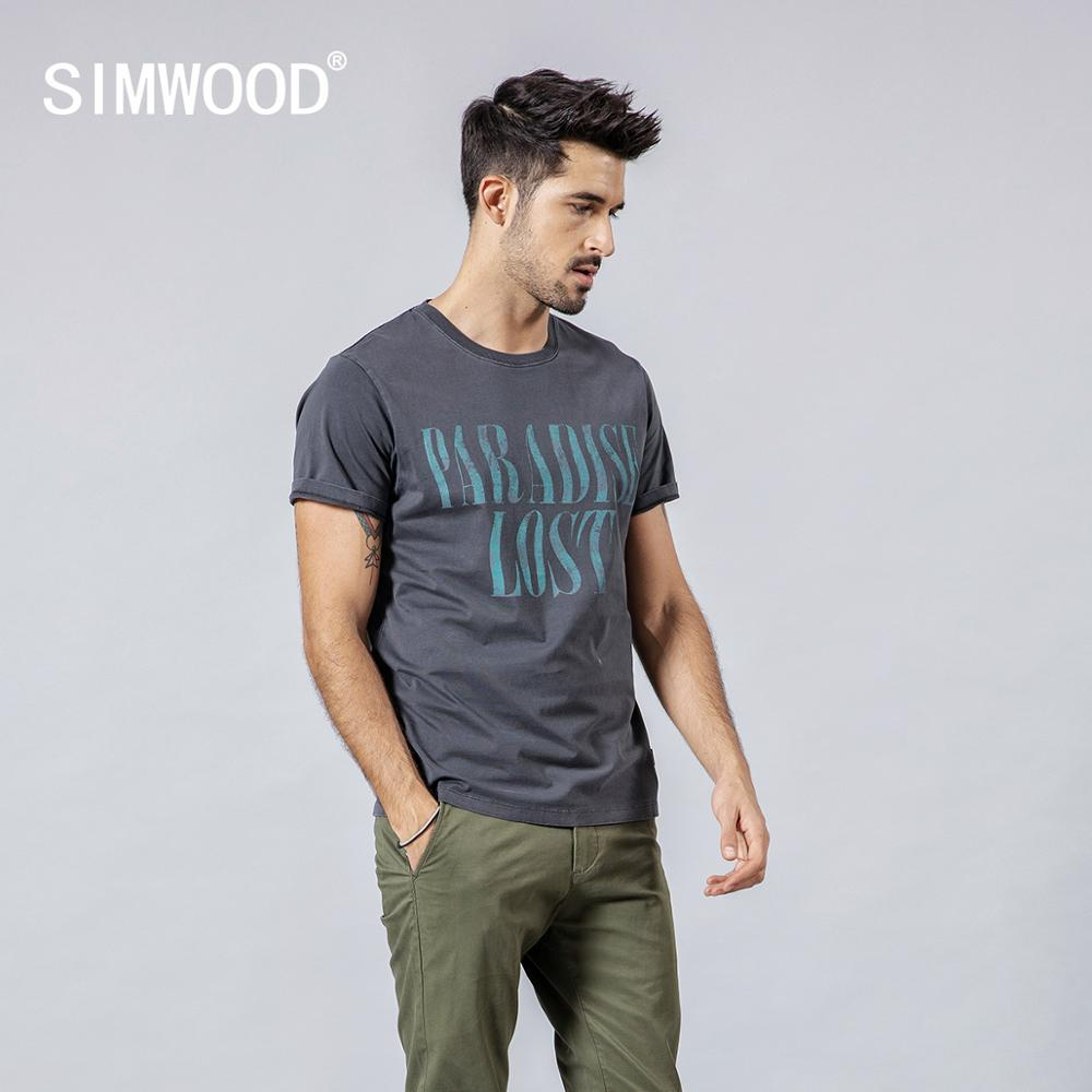 SIMWOOD 2019 Men   T     Shirt   Summer Casual Slim Letter Print Tops Brand Clothing Streetwear Male Plus Size Tees homme 190128