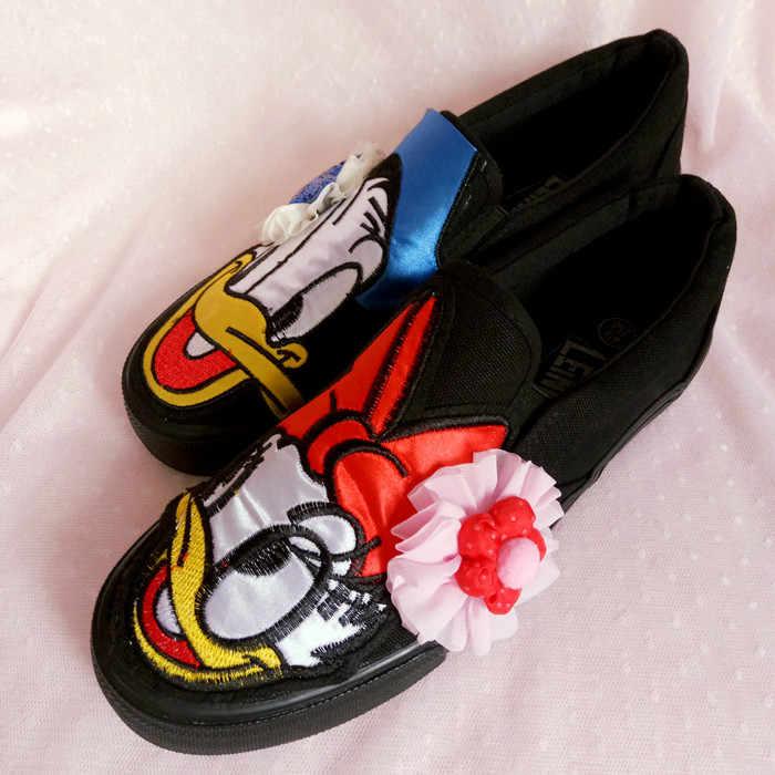נעלי נשים cartoon דונלד ברווז שטוח בד נעלי נשים של אופנה אישיות custom עצלנים נוחות.