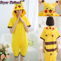 Summer Adult Kigurums Cartoon Cotton Pikachu Pokemon Footed Pajamas Women Men Animal Onesie Cosplay Costume Pyjamas