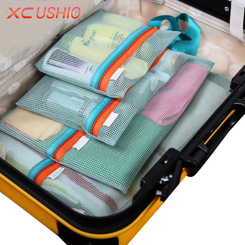 4 stk / sæt Thicken Travel Opbevaringspose Portable Travel Mesh Bag Case Toiletry Tøj Undertøj Hængende Opbevaringspose Organizer Pose