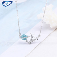 Orignal Initial S925 sterling silver blue planet necklaces & pendants for women Fashion star pendants necklaces jewelry gift