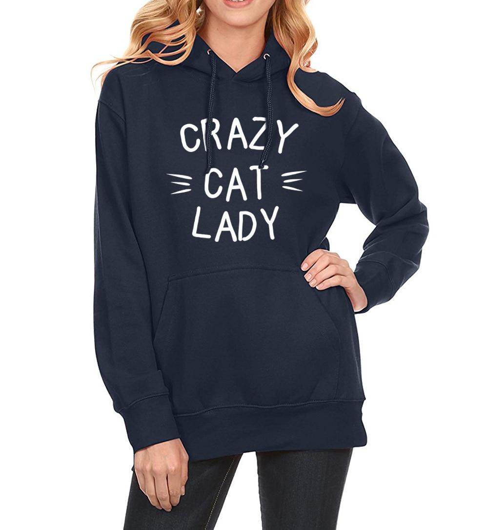 Sweatshirt For Women 2019 New Hoody Winter Sweatshirts CRAZY CAT LADY Print Fashion Streetwear Women's Hoodies Kpop Clothes Hot