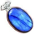 Lovegem Genuíno fogo Azul Labradorite Pingente 925 Prata Esterlina, 47mm, AP1903