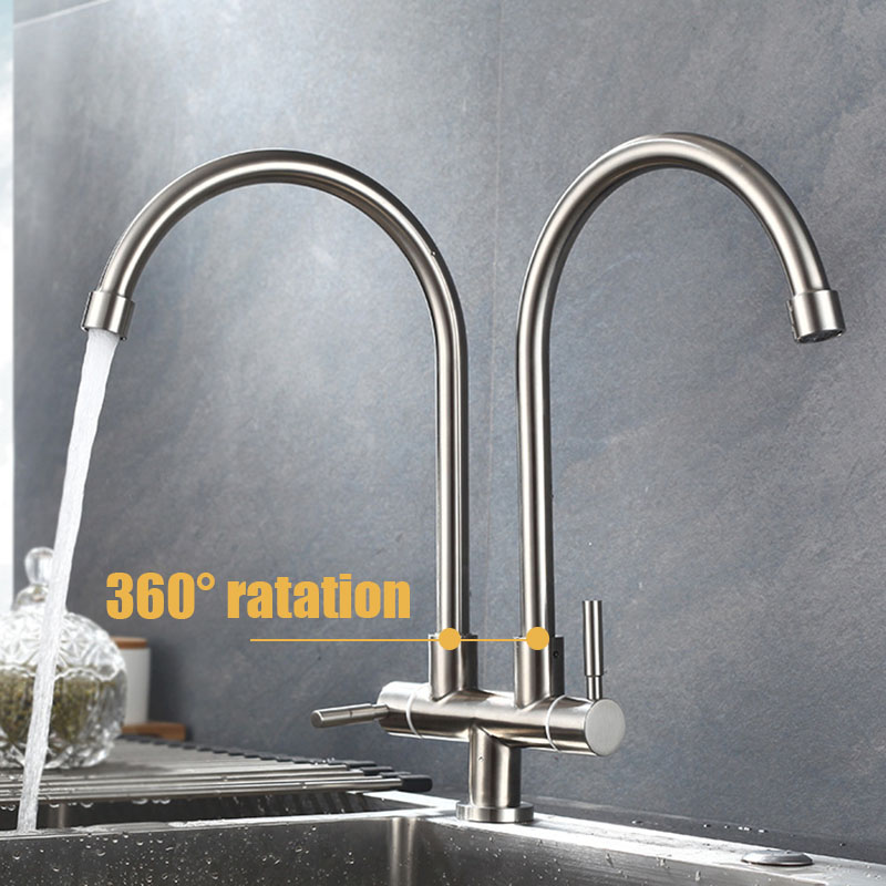Double Tap Head Single Cold Kitchen Faucet Free Rotation Multipurpose 304 Stainless Steel Single Hole Sink Water Tap Kitchen Faucet Single Cold Kitchen Faucetdouble Tap Aliexpress