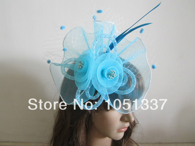 Light Sky Blue Wedding Glitter Beads Pompoms White Netting Feathers  Fascinator Clip Feathers Hair Fascinators 7de857eb4ce