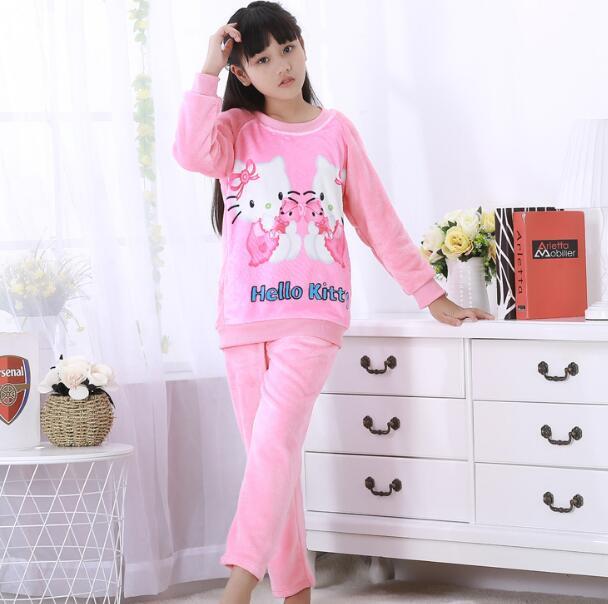 12bab425e124 pyjamas kids Girls Winter Flannel Sleepwear Children home Clothes ...