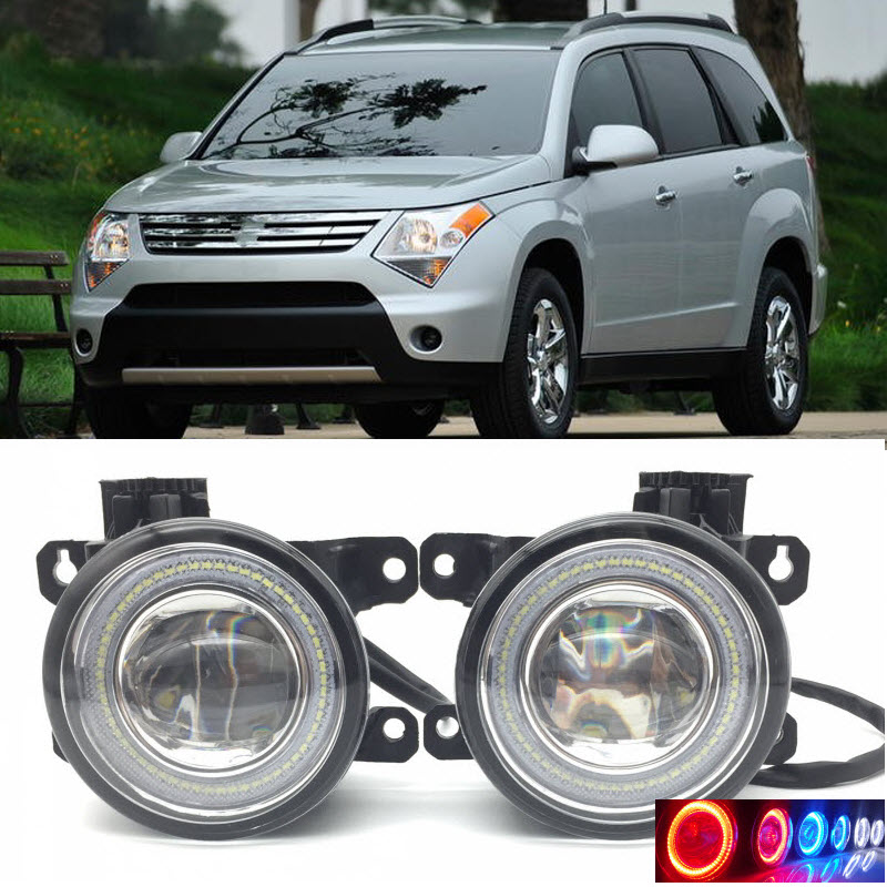 2 in 1 LED Angel Eyes DRL 3 Colors Daytime Running Lights Cut-Line Lens Fog Lamp for Suzuki XL7 XL-7 2007 2008 2009 car styling 2 in 1 led angel eyes drl daytime running lights cut line lens fog lamp for land rover freelander lr2 2007 2014