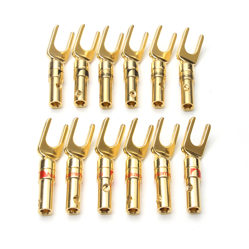 12PCS Y Type Banana Plugs Male Copper Connectors Audio Loudspeaker Amplifier Adapter For Electronics Gold Plated Speaker Plug 1pcs yt191 high voltage 4 mm banana plug test lead cable wire 100 cm for multimeter the probes gun type banana plugs