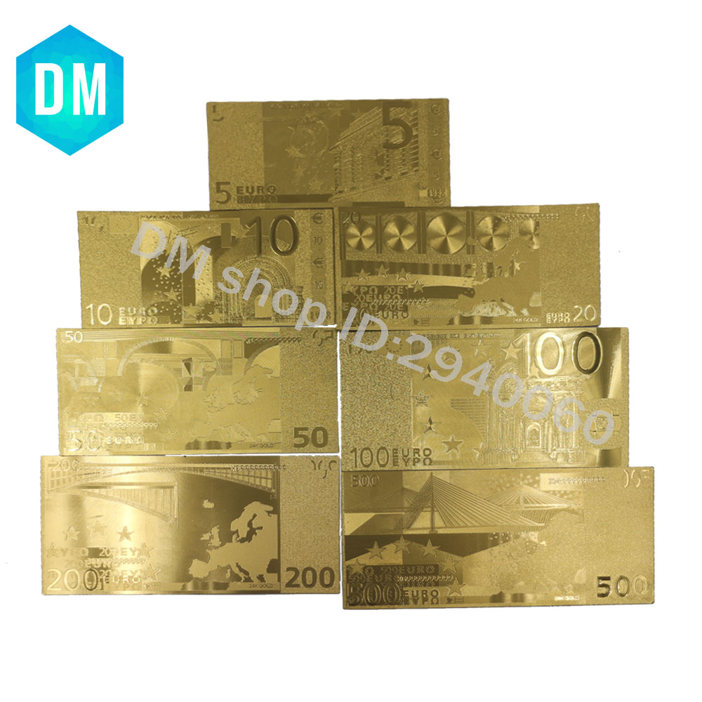 7pcs/lot Color <font><b>Euro</b></font> <font><b>Banknote</b></font> Sets 5 10 20 <font><b>50</b></font> 100 200 500 EUR Gold <font><b>Banknotes</b></font> in 24K Gold <font><b>Fake</b></font> Paper Money for Collection image