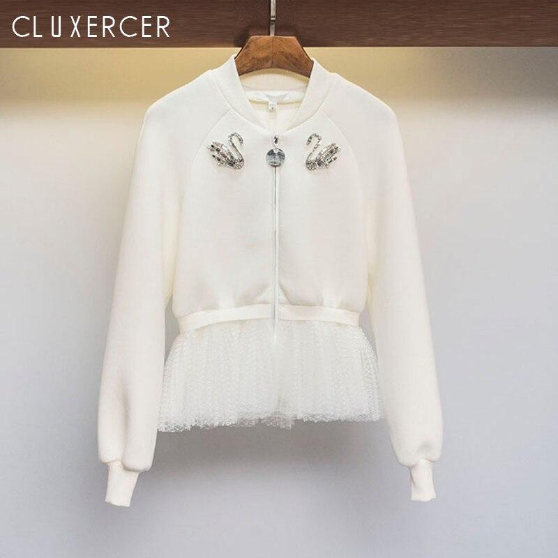 Basic     Jacket   For Women 2019 Fashion Diamonds Mesh Stitching Long Sleeve Bomber Female Spring Korea White Zipper Ladies   Jacket