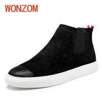 WONZOM 2018 New Arrvials Fashion Genuine Leather Chelsea Boots Men Plush Thermal Warm Ankle Snow Shoes High Quality Shoes Gift