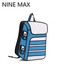 2016 New Arrival Contrast Color Funny Cartoon Secondary Yuan 2D 3D Backpack Student Bag Canvas Satchel
