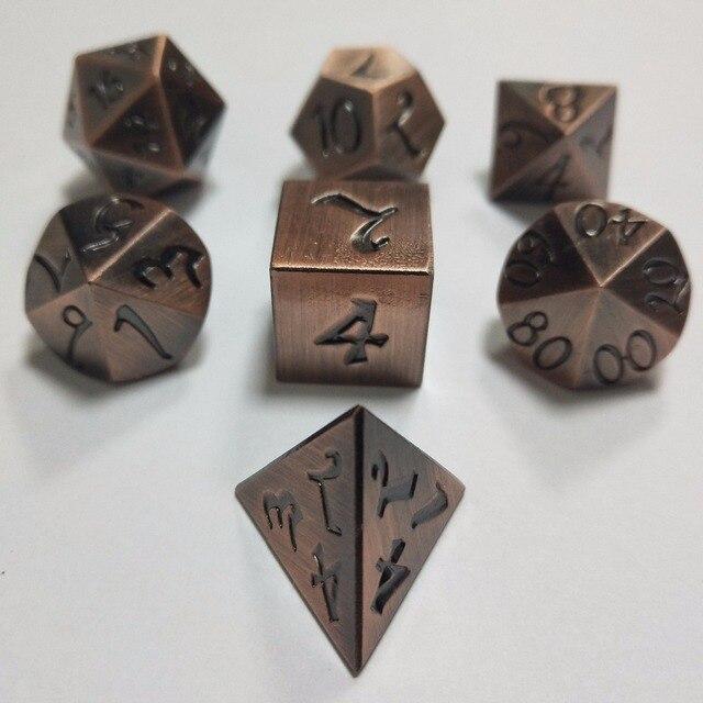 Venda direta da fábrica Dungeons & Dragons 7 pçs/set Criativo Dice RPG D & D Dados Do Metal Jogo DND Dice DND chapeamento de cobre antigo