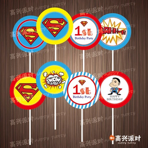8 Pcs Superman Theme Decorate Cupcakes Toothpick Toppers Picks Birthday  Party Favors Kids Cake Toppers Baby