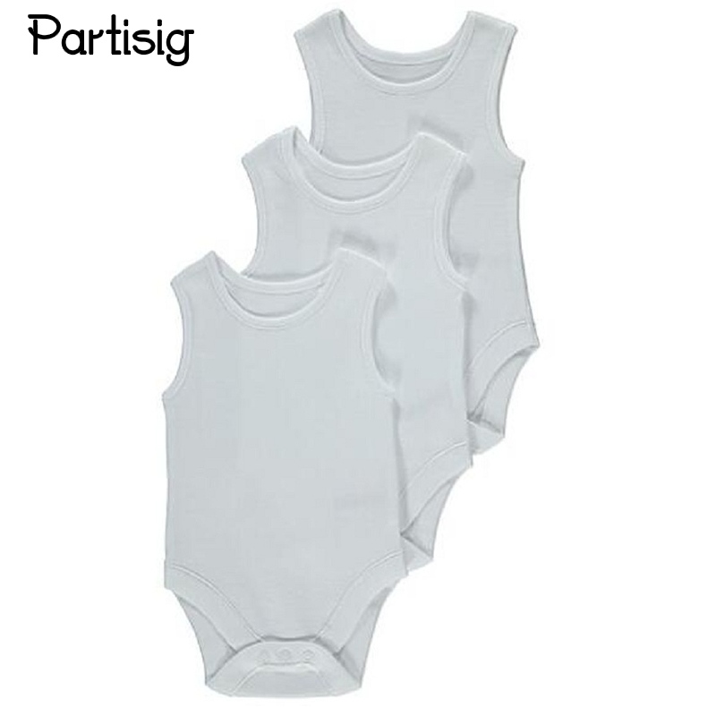 Baby Clothes Plain White Cotton Sleeveless Baby   Romper   Summer Clothing For Newborns Infantil Overall