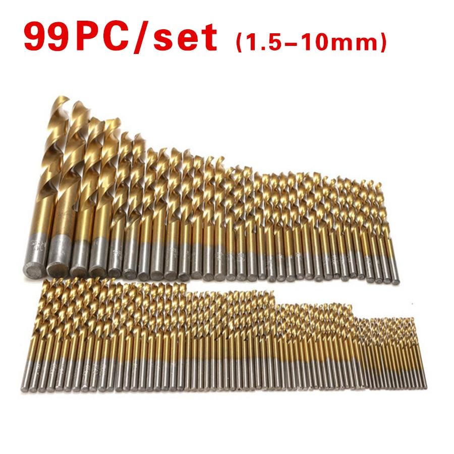 99pcs/Set Twist Drill Bit Set Saw Set HSS High Steel Titanium Coated Drill Woodworking Tool 1.5-10mm For Cordless Screwdriver 99pcs manual twist titanium coated high