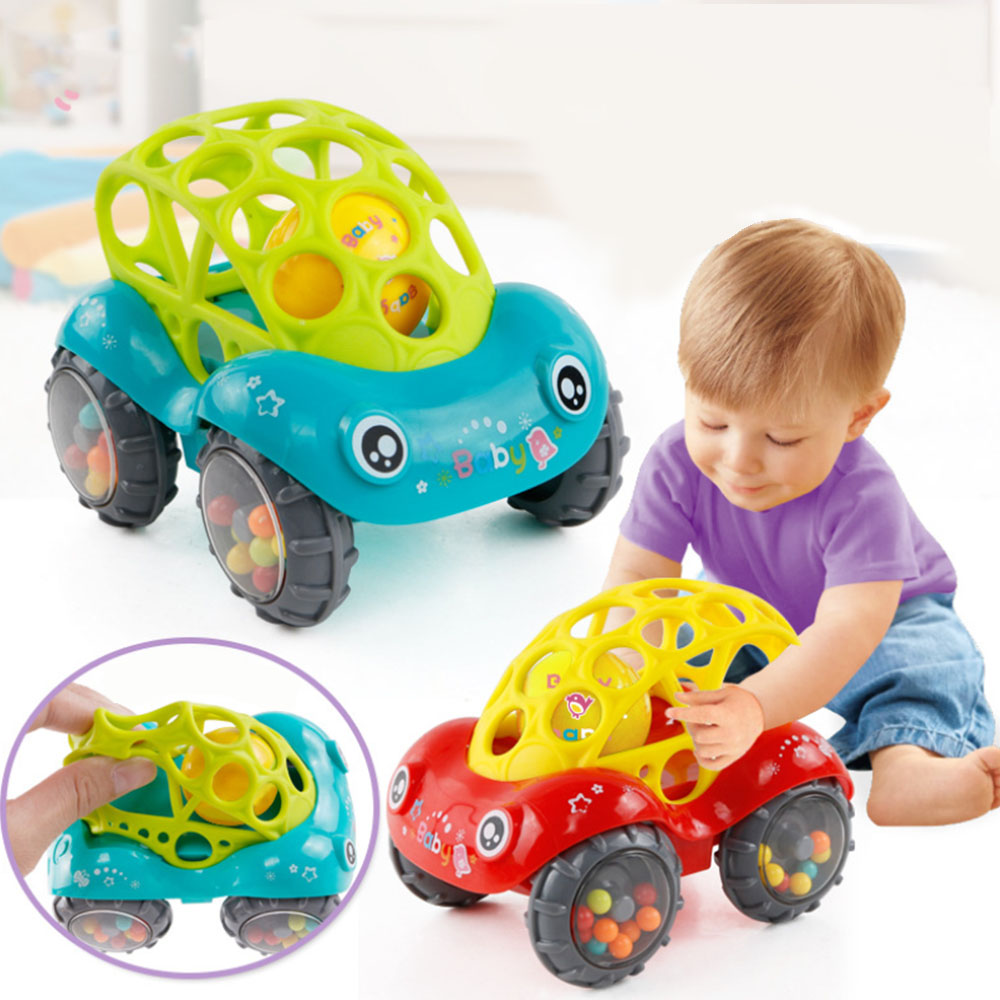 Colorful Animals Hand Jingle Shaking Bell Car Bobo Soft Rubber Car Toys Baby Plastic Non-toxic Music Handbell For Kids