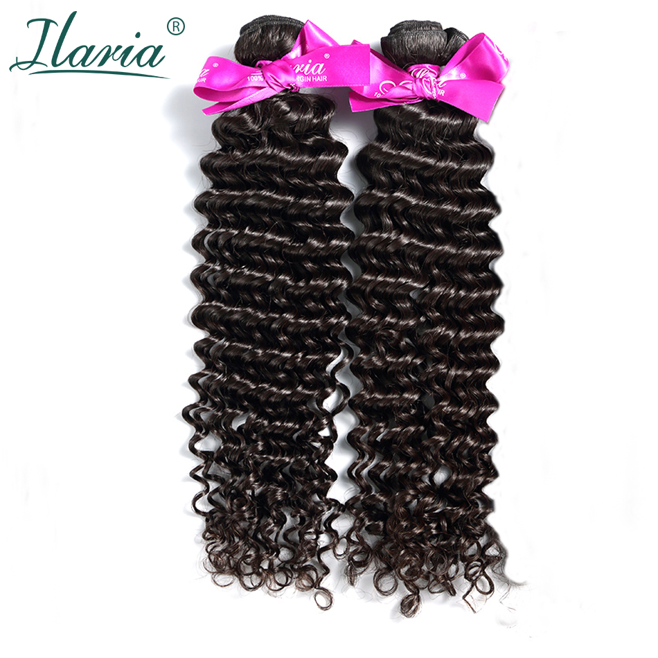 ILARIA HAIR 7A Deep Wave Peruvian Virgin Hair Bundles 2Pcs/Lot 100% Curly Human Hair Weaves Hair Weft Natural Color Top Quality