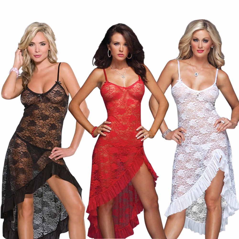 Black White Red Plus Size S M L XL 2XL 3XL 4XL 5XL 6XL Lingerie Nightgown Gown Long Lace Babydoll Chemise Sleepwear