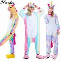 New 2017 Dropshipping Children Adult Rainbow Unicorn Animal Pajamas Flannel Kigurumi Onesies Sleepwear Cosplay Costumes