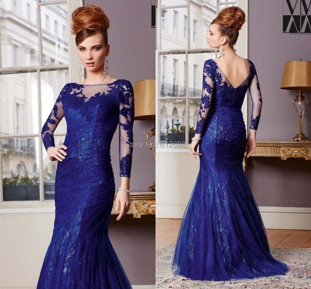 2016 Elegant Lace Mermaid Mother Evening Dress Scoop neck Full Sleeve Floor length Royal Blue Mother of the Bride Dresses 2017
