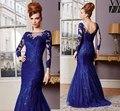 2016 Elegante Mãe Rendas Sereia Vestido de Noite do pescoço Da Colher Cheia manga Até O Chão Azul Royal Mãe dos Vestidos de Noiva 2017