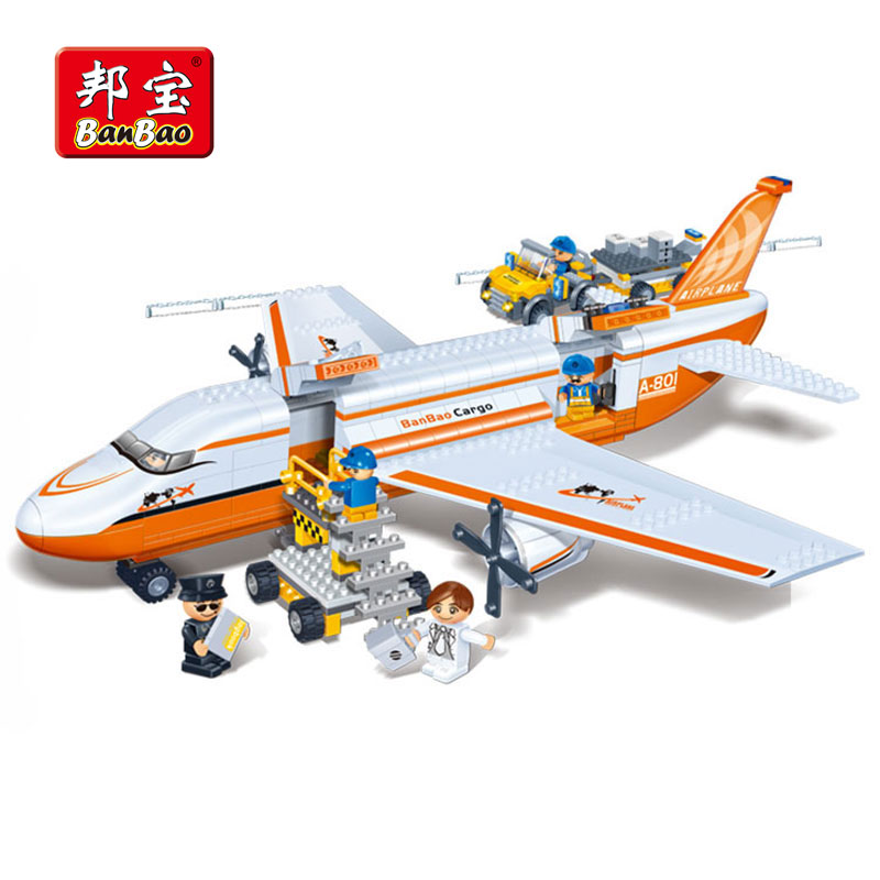 BanBao Cargo Aircraft Plane Transport Blocks Bricks Educational Building Toys For Kids Children Gifts Compatible With Legoe 8281 sluban b0367 aviation series international airport building blocks transport aircraft vehicle bricks toys