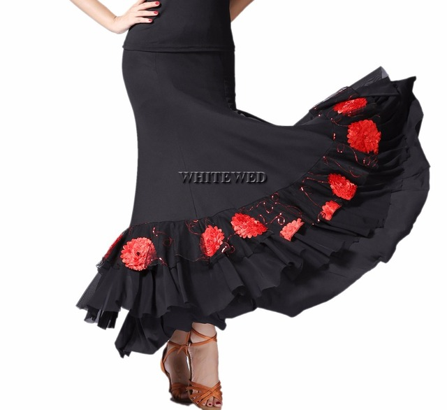 78d345b29d12 Women s Smooth Ballroom Practice Dance Costumes Skirts Floral Ballroom  Waltz Foxtrot Latin Flamenco Party Square Dancing