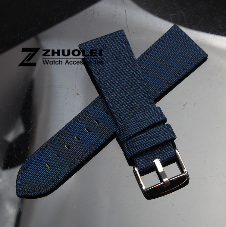 18mm 20mm 22mm 24mm Dark blue Nylon Canvas Durable Sport Padded Watch Strap comfortable Leather Lining men's watch band napapijri guji check dark blue