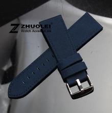 18mm 20mm 22mm 24mm azul Escuro Assistir Cinta de Lona de Nylon Durável Esporte Acolchoado Forro de Couro confortável faixa de relógio dos homens