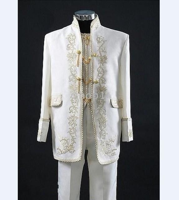 Nuevo Bordado Marfil Novio Esmoquin Mandarín Solapa de los Padrinos de Boda de Los Hombres Trajes de Boda/Baile Mejor Hombre Chaqueta (Jacket + Pants + Vest) C10