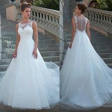 シックなチュールオーガンザスクープネックライン自然なウエストライン A ラインのウェディングドレスレースドレス vestido デ · ノビア