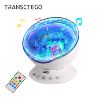 Led Night Light Projector Lamp Battery Powered Remote Control Ocean Wave Projector 7 Colors Music Player Kids Gift Bedroom Light