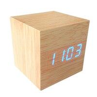 1 개 현대 나무 스타일 디지털 알람 시계 온도계 시간 날짜 뜨거운 판매 브랜드 새로