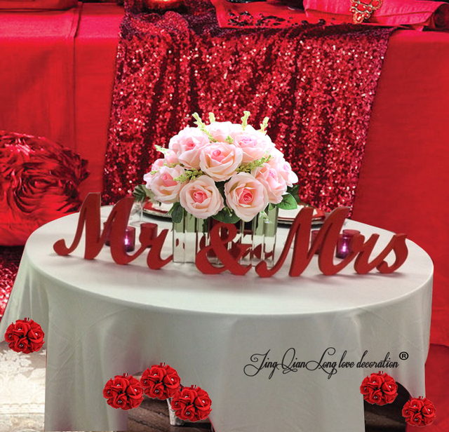 Wooden Letters red Mr. & Mrs. letters wedding table decoration ...