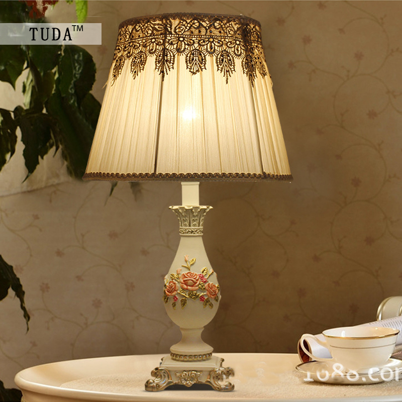 TUDA 33X55cm Free Shipping European Style Resin Table Lamp High Grade Fabric Lampshade Table Lamp LED Desk Lamp indoor lighting free shipping european high grade furniture jewelry natural resin candlestick rose upholstery candlestick wedding accessories
