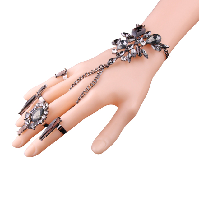 Crystal slave bracelet and 3 rings. Set