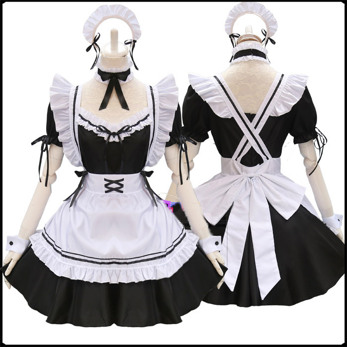 Image 2 - Black Cute Lolita Maid Costumes French Maid Dress Girls Woman Amine Cosplay Costume Waitress Maid Party Stage Costumes    -