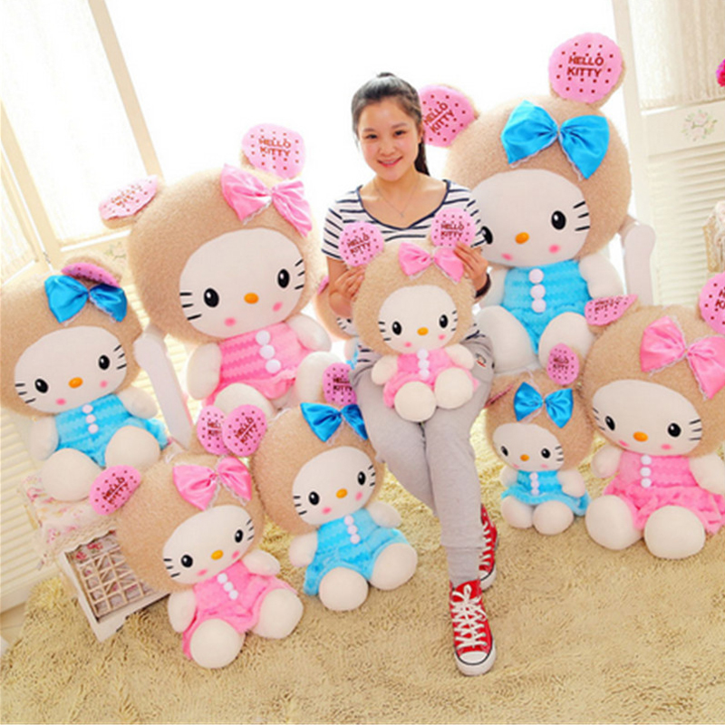 Fancytrader Big Soft 100cm Plush Hello Kitty Cat Toy  Giant Lovely Stuffed  Hello Kitty Toys Doll Birthday Xmas Gift Pink Blue 60cm dolphin lovely chicken colorful plush toys birthday chick stuffed doll blue or pink whale gift stuffing toy c38