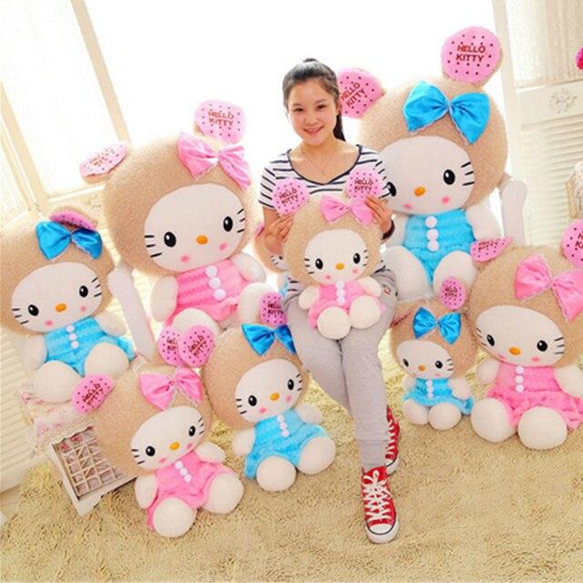 Fancytrader Большие Мягкие 100 см Плюшевые Hello Kitty Cat Игрушка Гигант прекрасный Чучела Hello Kitty Игрушки Куклы День Рождения Рождественский Подарок Розовый синий