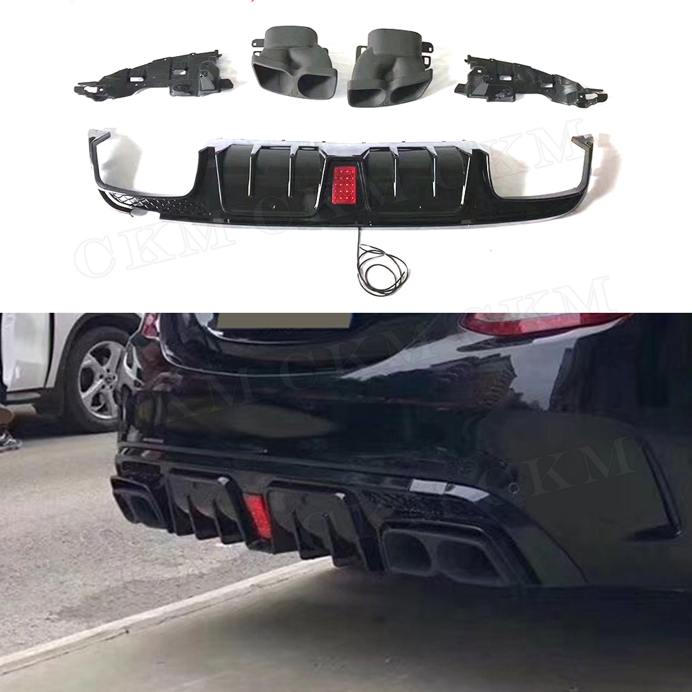 B Style C Class Rear Lip Diffuser Led Light with Exhaust Tips for Benz <font><b>W205</b></font> <font><b>C200</b></font> C300 C43 C63 <font><b>AMG</b></font> 4 Door 2015-2019 Bumper Guard image