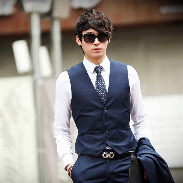Plus Size Mens Black Blue Slim Fit Waistcoats Single Breasted Formal Business Dress Vests Of Men Sleeveless Jacket Outwear XXXL