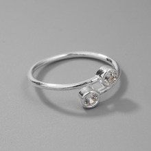 925 Sterling Silver Crystal Inlaid Ring