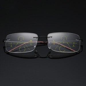 Image 2 - Óculos de leitura multifocal unissex, óculos de titânio para leitura, com lente multifocal, sem aro, para homens e mulheres, 2019